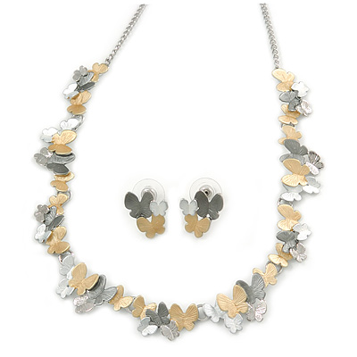 3 Tone Romantic Matt Enamel Butterfly Necklace & Stud Earrings In Rhodium Plated Metal - 40cm L/ 7cm Ext - Gift Boxed - main view