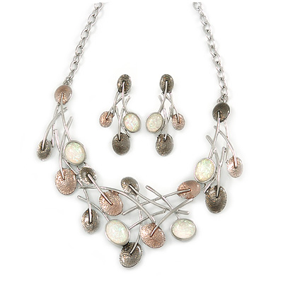 Abstract Pastel Brown/ Milky White Leaf Necklace & Stud Earrings In Rhodium Plated Metal - 40cm L/ 8cm Ext - Gift Boxed