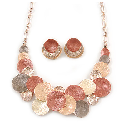 Geometric Multi Circle Necklace & Stud Earrings In Gold Tone (Beige/ Orange/ Yellow) - 39cm L/ 8cm Ext - Gift Boxed - main view