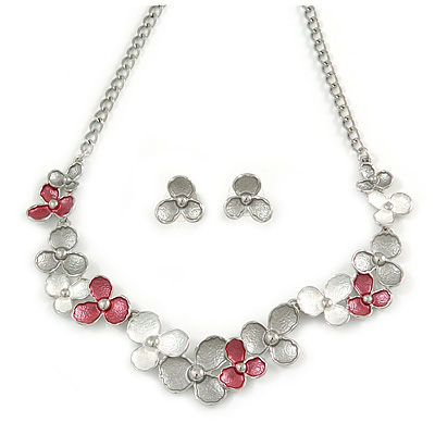 5ed313d09 Romantic Grey/ White/ Raspberry Matt Enamel Floral Necklace & Stud Earrings  In Rhodium Plated Metal - 40cm L/ 8cm Ext - Gift Boxed [S00787]