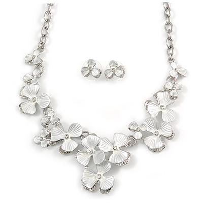 Romantic White Matt Enamel 3D Floral Necklace & Stud Earrings In Rhodium Plating - 40cm L/ 8cm Ext - Gift Boxed - main view