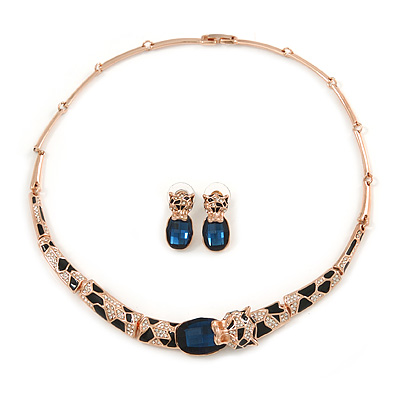 Statement Crystal Tiger Necklace and Stud Earrings Set In Rose Gold Tone Metal - 43cm L - Gift Boxed