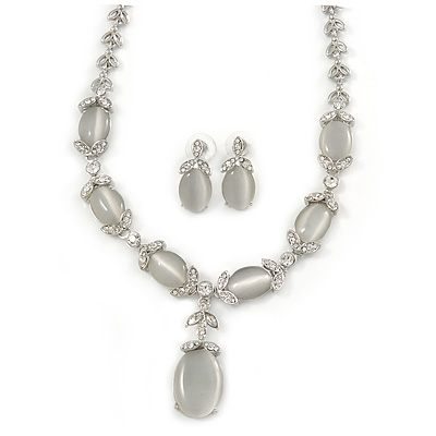 Bridal Clear Crystal Oval Cat Eye Stone Y-Necklace & Stud Earring Set In Rhodium Plated Metal - 48cm Long/ 5cm Front Drop