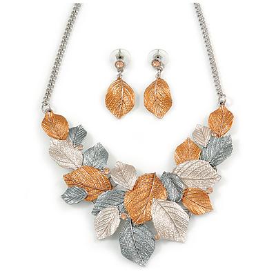 Delicate Matt Enamel Leaf Necklace & Drop Earrings In Silver Tone Metal (Copper/ Grey/ White) - 40cm L/ 8cm Ext - Gift Boxed