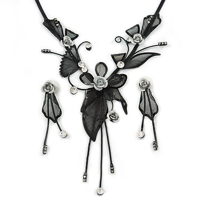 Exquisite Y-Shape Metallic Silver Rose Necklace & Drop Earring Set In Black Metal - 38cm L/ 7cm Ext