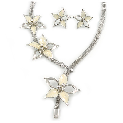Silver Tone Mesh Y- Shape Necklace with Cream Enamel Flowers & Stud Earrings - 36cm L/ 10cm Ext - Gift Boxed