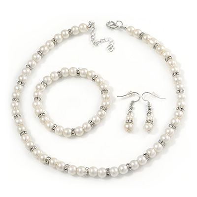 7mm White Faux Pearl Glass Bead with Crystal Rings Necklace, Flex Bracelet & Drop Earrings Set In Silver Plating - 40cm L/ 5cm Ext - main view