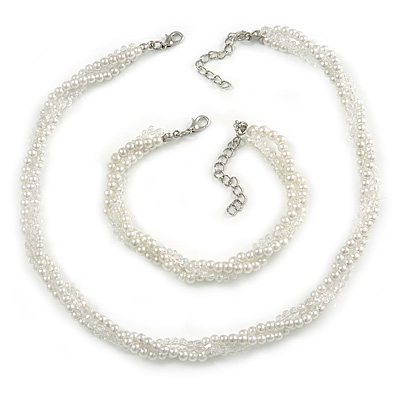 3 Strand Faux Pearl and Clear Glass Bead Twisted Necklace & Bracelet Set In Silver Tone - 40cm L/ 5cm Ext