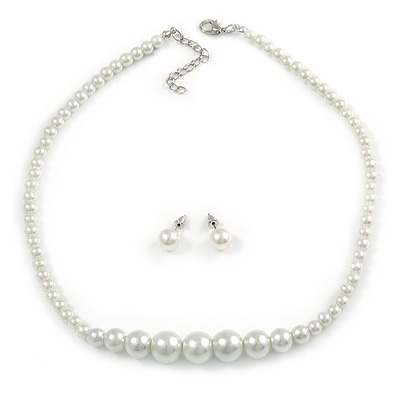 White Graduated Glass Faux Pearl Necklace & Drop Earrings Set In Silver Plating - 44cm L/ 4cm Ext - main view