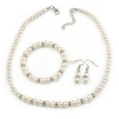 5mm, 7mm White Faux Pearl Glass/ Crystal Bead Necklace, Flex Bracelet & Drop Earrings Set In Silver Plating - 42cm L/ 5cm Ext - main view