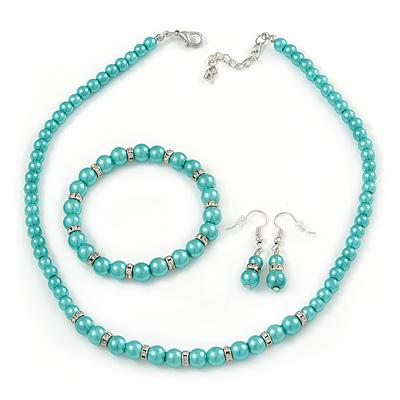 5mm, 7mm Aqua/ Cyan Glass/ Crystal Bead Necklace, Flex Bracelet & Drop Earrings Set In Silver Plating - 42cm L/ 5cm Ext - main view