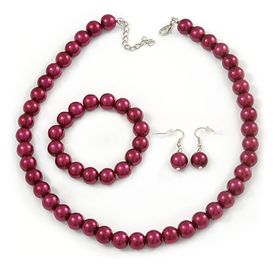 12mm Cranberry Red Glass Bead Necklace, Flex Bracelet & Drop Earrings Set In Silver Plating - 46cm L/ 5cm Ext