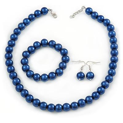 12mm Denim Blue Glass Bead Necklace, Flex Bracelet & Drop Earrings Set In Silver Plating - 46cm L/ 5cm Ext