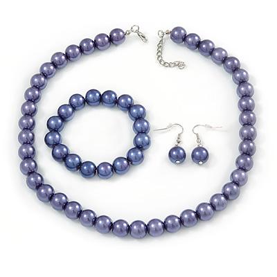 12mm Purple Glass Bead Necklace, Flex Bracelet & Drop Earrings Set In Silver Plating - 46cm L/ 5cm Ext