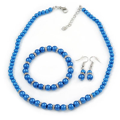 5mm, 7mm Electric Blue Glass/Crystal Bead Necklace, Flex Bracelet & Drop Earrings Set In Silver Plating - 42cm L/ 5cm Ext