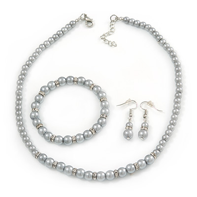 5mm, 7mm Light Grey Glass/ Crystal Bead Necklace, Flex Bracelet & Drop Earrings Set In Silver Plating - 42cm L/ 5cm Ext - main view