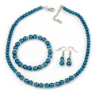 5mm, 7mm Teal Glass/Crystal Bead Necklace, Flex Bracelet & Drop Earrings Set In Silver Plating - 42cm L/ 5cm Ext - main view