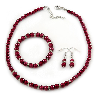 6mm, 8mm Cranberry Red Glass/ Crystal Bead Necklace, Flex Bracelet & Drop Earrings Set In Silver Plating - 42cm L/ 5cm Ext - main view