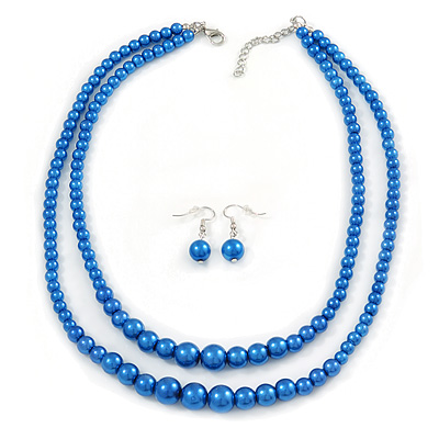 2 Strand Layered Electric Blue Graduated Glass Bead Necklace and Drop Earrings Set - 50cm L/ 4cm Ext