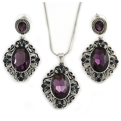 Victorian Inspired Purple/ Dark Blue Crystal Filigree Pendant with Silver Tone Snake Chain and Drop Earrings In Aged Silver Tone Metal - 40cm L/ 4cm E