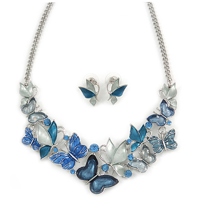 Romantic Blue Glass, Enamel, Crystal Butterfly Cluster Necklace and Stud Earrings Set In Rhodium Plating - 42cm L/ 7cm Ext - main view