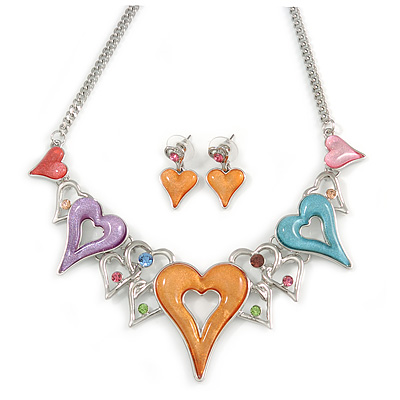 Romantic Multicoloured Glass, Crystal Multi Heart Necklace and Drop Earrings Set In Rhodium Plating - 40cm L/ 8cm Ext