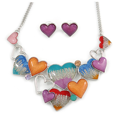Romantic Multicoloured Glass, Enamel Multi Heart Necklace and Stud Earrings Set In Rhodium Plating - 40cm L/ 8cm Ext - main view