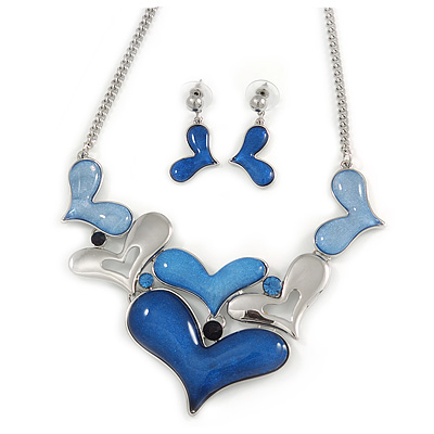 Blue Glass, Crystal Heart Necklace and Drop Earrings Set In Silver Tone - 42cm L/ 7cm Ext