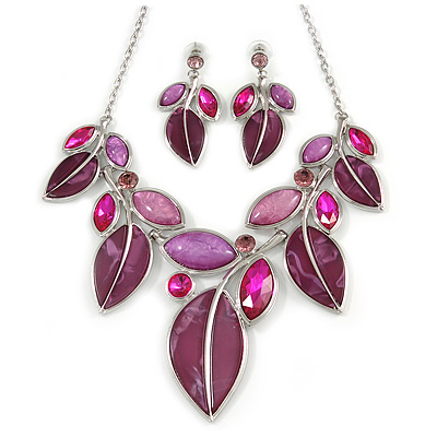 Statement Purple/ Magenta Glass, Crystal Leaf Necklace and Drop Earrings In Rhodium Plating - 40cm L/ 8cm Ext