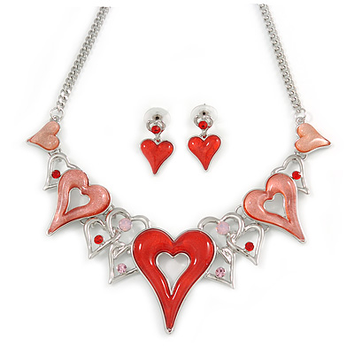 Romantic Pink/ Red Glass, Crystal Multi Heart Necklace and Drop Earrings Set In Rhodium Plating - 40cm L/ 8cm Ext