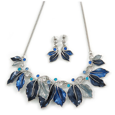 Blue Enamel, Crystal Multi Leaf Necklace and Drop Earrings Set In Rhodium Plating - 40cm L/ 6cm Ext