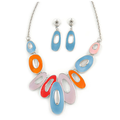 Multicoloured Enamel Geometric Oval Station Necklace and Drop Earrings Set In Rhodium Plating - 40cm L/ 7cm Ext - main view