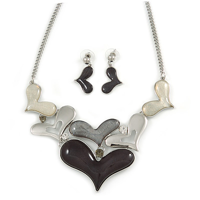 Black/ Grey/ White Glass, Crystal Heart Necklace and Drop Earrings Set In Silver Tone - 42cm L/ 7cm Ext