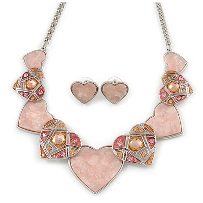 Romantic Crystal Multi Heart Necklace and Stud Earrings Set In Rhodium Plating (Pink) - 40cm L/ 8cm Ext - Gift Boxed - main view