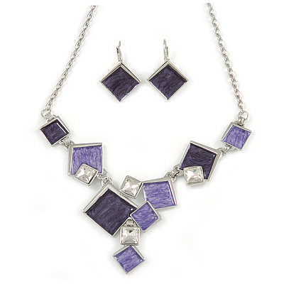 Avant Garde Purple Enamel Geometric Square Station, Clear Crystal Necklace and Drop Earrings Set In Rhodium Plating - 42cm L/ 7cm Ext