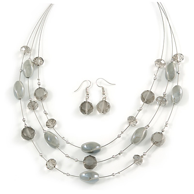 Multistrand Light Grey Glass and Ceramic Bead Wire Necklace & Drop Earrings Set - 48cm L/ 5cm Ext - main view