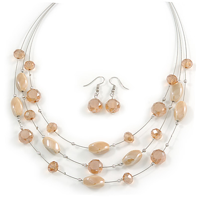 Multistrand Light Toffee/ Caramel Glass and Ceramic Bead Wire Necklace & Drop Earrings Set - 48cm L/ 5cm Ext - main view