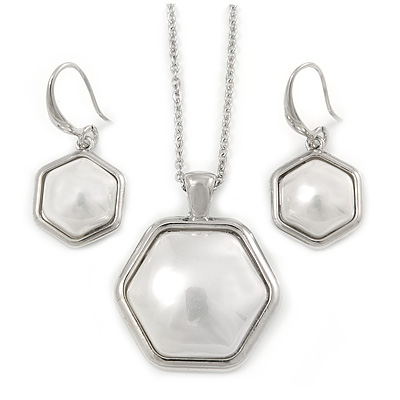Stylish White Pearl Style Six-Sided Geometric Pendant and Drop Earrings In Rhodium Plating (48cm Chain)