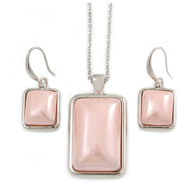 Stylish Pale Pink Pearl Style Square Pendant and Drop Earrings In Rhodium Plating (48cm Chain)