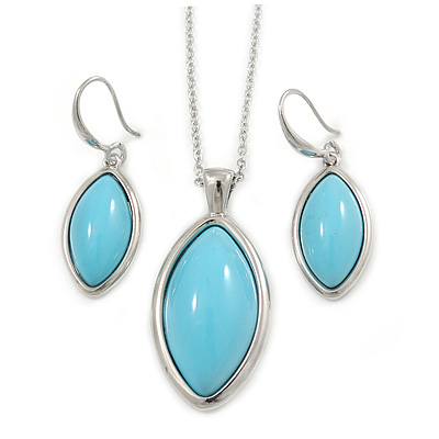 Stylish Light Blue Oval Acrylic Pendant and Drop Earrings In Rhodium Plating (48cm Chain)