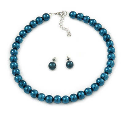 10mm Teal Glass Bead Choker Necklace & Stud Earrings Set - 37cm L/ 5cm Ext