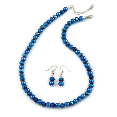 8mm Electric Blue Glass and Pearl Bead Necklace and Drop Earrings Set - 42cm L/ 5cm Ext - main view