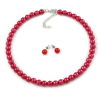 8mm Cranberry Red Glass Bead Choker Necklace & Stud Earrings Set - 37cm L/ 5cm Ext - main view