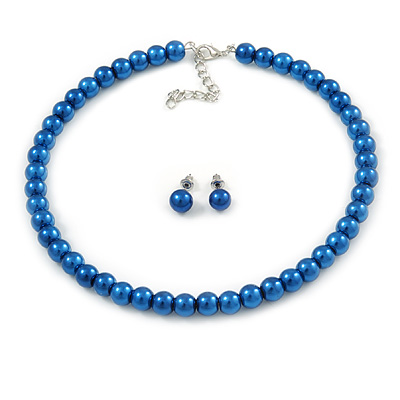 8mm Blue Glass Bead Choker Necklace & Stud Earrings Set - 37cm L/ 5cm Ext