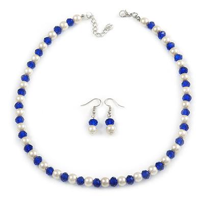 Sapphire Blue Glass Bead, White Glass Faux Pearl Neckalce & Drop Earrings Set with Silver Tone Clasp - 40cm L/ 4cm Ext