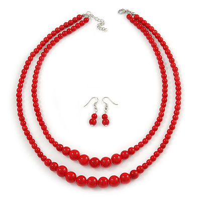2 Strand Layered Bright Red Graduated Ceramic Bead Necklace and Drop Earrings Set - 52cm L/ 4cm Ext