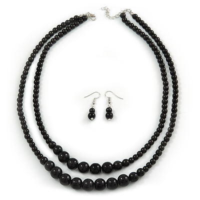 2 Strand Layered Black Graduated Ceramic Bead Necklace and Drop Earrings Set - 52cm L/ 4cm Ext - main view