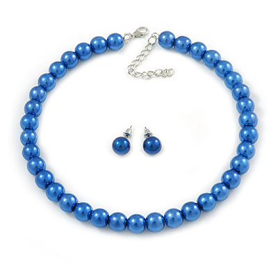 10mm Blue Glass Bead Choker Necklace & Stud Earrings Set - 37cm L/ 5cm Ext