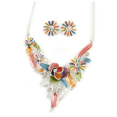 Matt Pastel Multicoloured Enamel, Clear Crystal Floral Necklace and Stud Earrings In Light Silver Tone - 45cm L/ 7cm Ext - main view