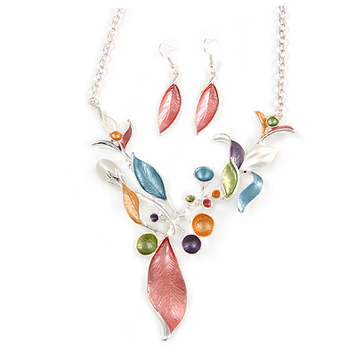 Matt Pastel Multicoloured Enamel Leaf Necklace and Stud Earrings In Light Silver Tone - 45cm L/ 7cm Ext - main view